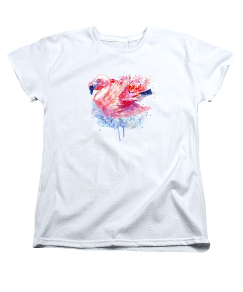 Flamingo On The Water Women's T-Shirt (Standard Cut) by Marian Voicu