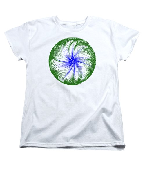 Floral Web - Green Blue By Kaye Menner Women's T-Shirt (Standard Cut) by Kaye Menner
