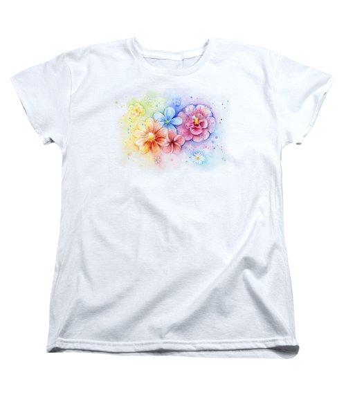 Flower Power Watercolor Women's T-Shirt (Standard Cut) by Olga Shvartsur
