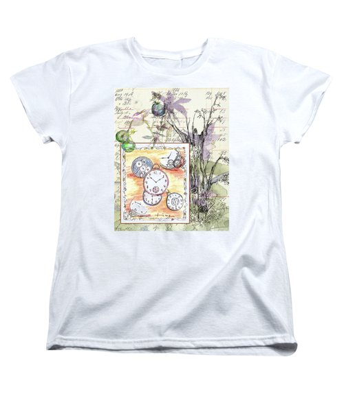 Women's T-Shirt (Standard Cut) featuring the drawing Flowers And Time by Cathie Richardson