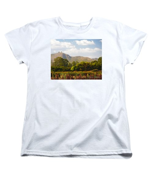 Women's T-Shirt (Standard Cut) featuring the photograph Flowers And Two Trees by John A Rodriguez