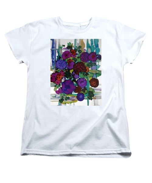 Flowers On Trellis Women's T-Shirt (Standard Cut) by Alika Kumar