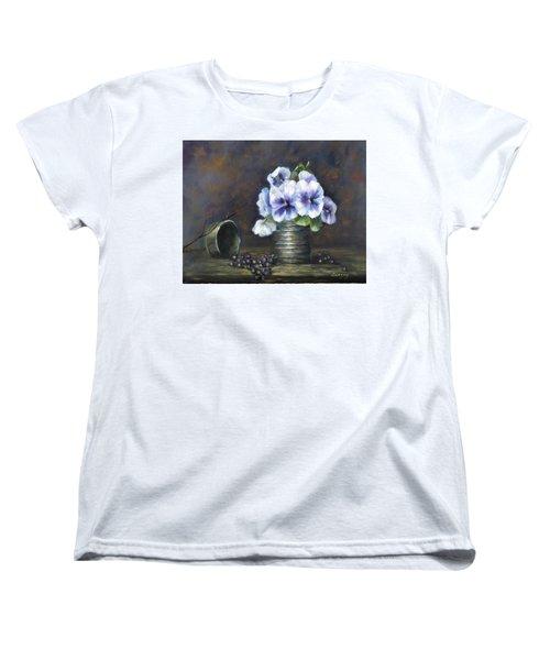 Flowers,pansies Still Life Women's T-Shirt (Standard Cut) by Luczay