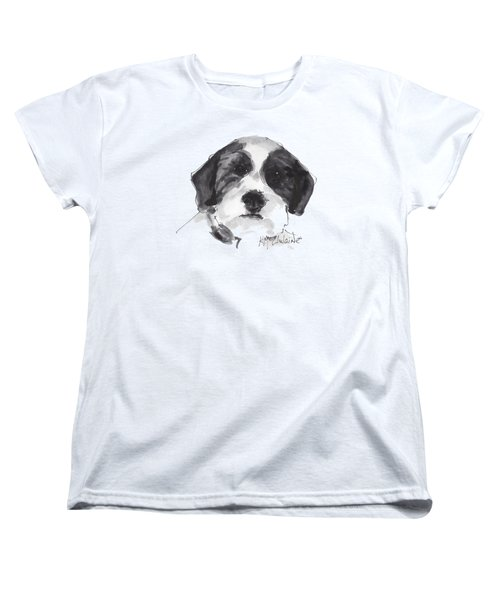 Fluffy Black And White Dog Watercolor Painting Women's T-Shirt (Standard Cut) by Kathleen McElwaine