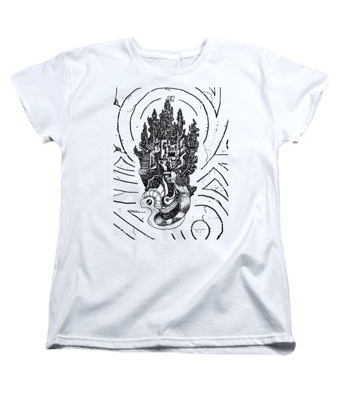Flying Castle Women's T-Shirt (Standard Cut) by Sotuland Art