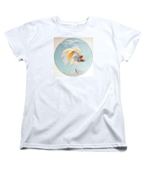 Flying In The Clouds Of Goldfish Women's T-Shirt (Standard Cut) by Chen Baoyi