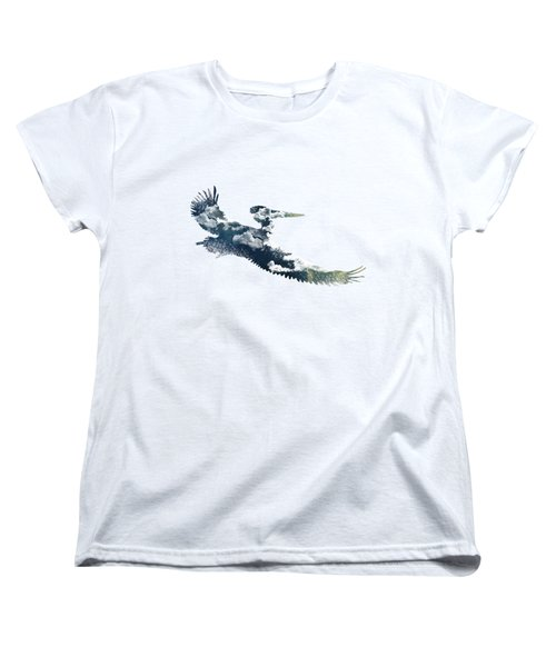 Flying Pelican Women's T-Shirt (Standard Cut) by Diana Van