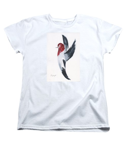 Women's T-Shirt (Standard Cut) featuring the painting Flying Red-headed Woodpecker by Frank Bright