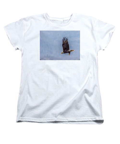 Women's T-Shirt (Standard Cut) featuring the photograph Flying With His Mouth Full.  by Timothy Latta