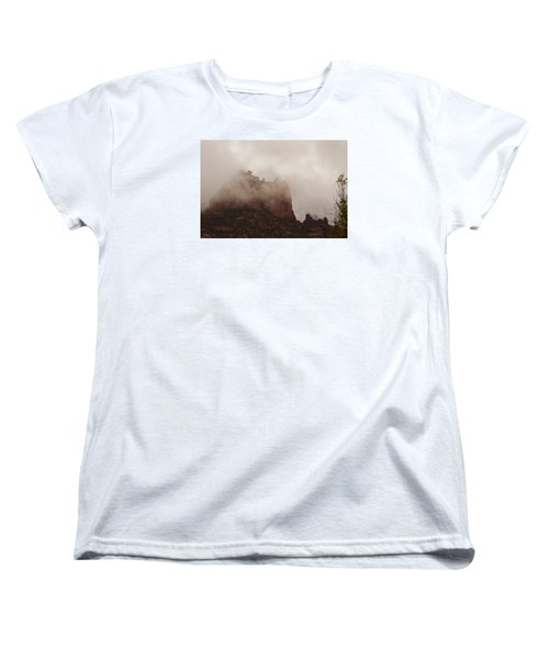 Women's T-Shirt (Standard Cut) featuring the photograph Fog Over Snoopy Rock by Tom Kelly