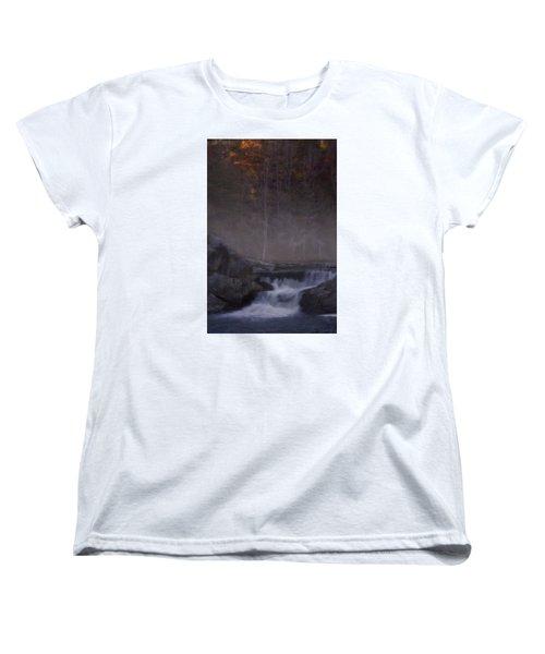 Women's T-Shirt (Standard Cut) featuring the photograph Foggy Morning At Linville Falls by Ellen Heaverlo
