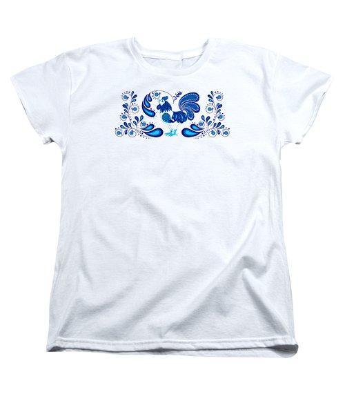 Folk Art Rooster In Blue Women's T-Shirt (Standard Cut) by Ruanna Sion Shadd a'Dann'l Yoder