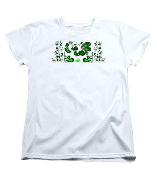 Folk Art Rooster In Green Women's T-Shirt (Standard Cut) by Ruanna Sion Shadd a'Dann'l Yoder