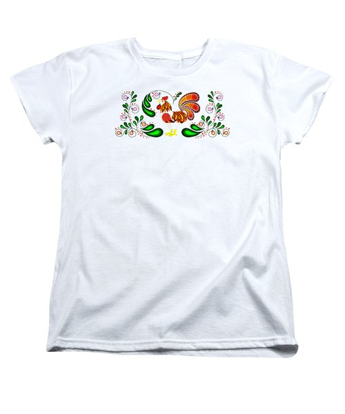 Folk Art Rooster Multi Color Women's T-Shirt (Standard Cut) by Ruanna Sion Shadd a'Dann'l Yoder
