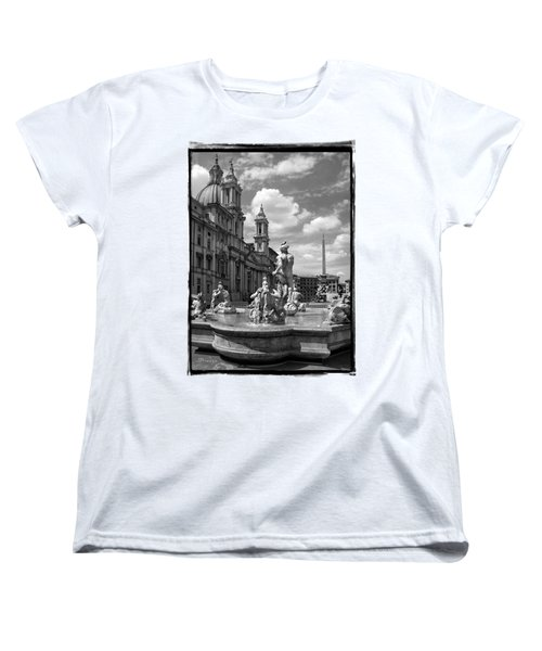 Fontana Del Moro.rome.italy Women's T-Shirt (Standard Cut) by Jennie Breeze