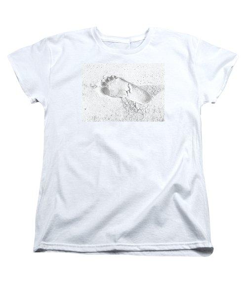 Footprint In The Sand Women's T-Shirt (Standard Cut) by Patrick Kain