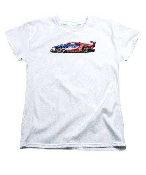 Ford Gt Le Mans Illustration Women's T-Shirt (Standard Cut) by Alain Jamar