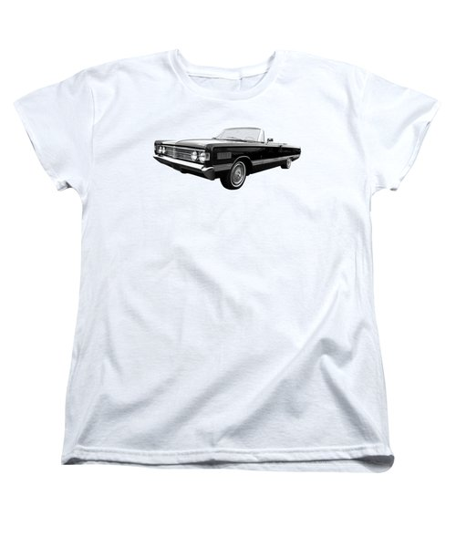 Women's T-Shirt (Standard Cut) featuring the photograph Ford Mercury Park Lane 1966 Black And White by Gill Billington