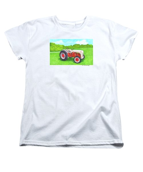 Women's T-Shirt (Standard Cut) featuring the painting Ford Tractor 1941 by Jack Pumphrey