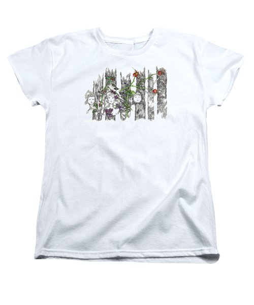 Women's T-Shirt (Standard Cut) featuring the drawing Forest Faces by Cathie Richardson