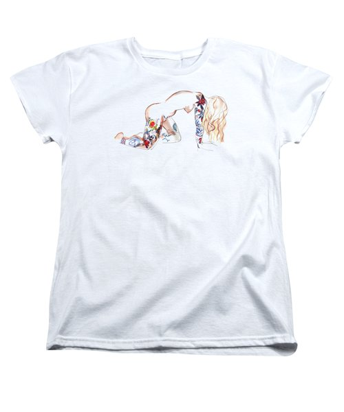 Women's T-Shirt (Standard Cut) featuring the mixed media Forever Amber - Tattoed Nude by Carolyn Weltman