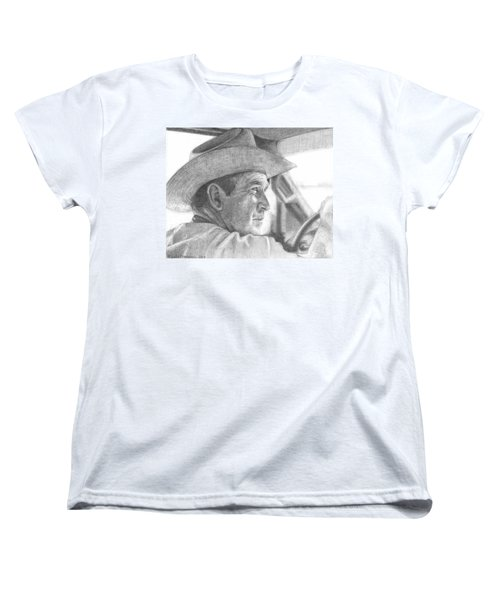 Former Pres. George W. Bush Wearing A Cowboy Hat Women's T-Shirt (Standard Cut) by Michelle Flanagan