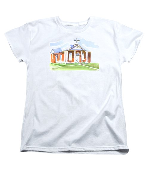 Women's T-Shirt (Standard Cut) featuring the painting Fort Hill Methodist Church by Kip DeVore