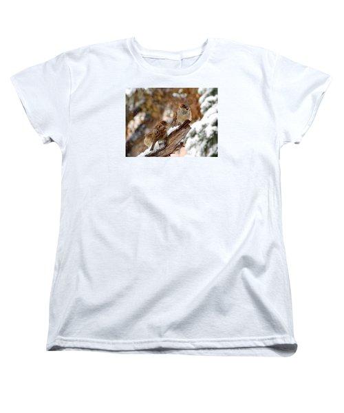Women's T-Shirt (Standard Cut) featuring the photograph Four Sparrows by Deborah Moen