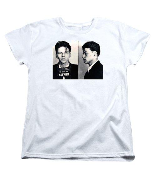 Frank Sinatra Mug Shot Horizontal Women's T-Shirt (Standard Cut) by Tony Rubino