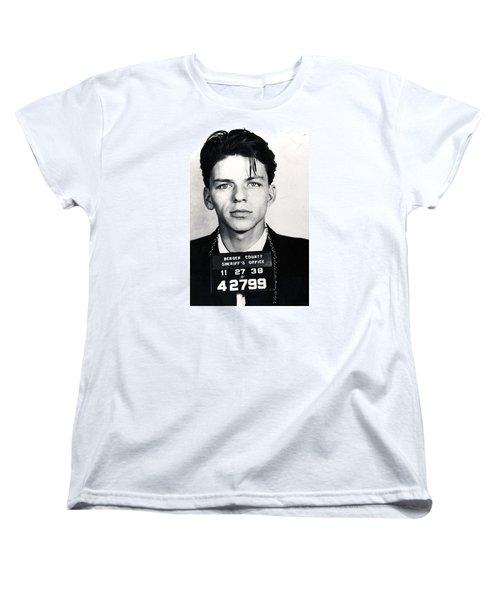 Frank Sinatra Mug Shot Vertical Women's T-Shirt (Standard Cut) by Tony Rubino