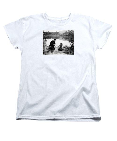 Frankenstein By The Lake With Little Girl Boris Karoff Women's T-Shirt (Standard Cut) by R Muirhead Art