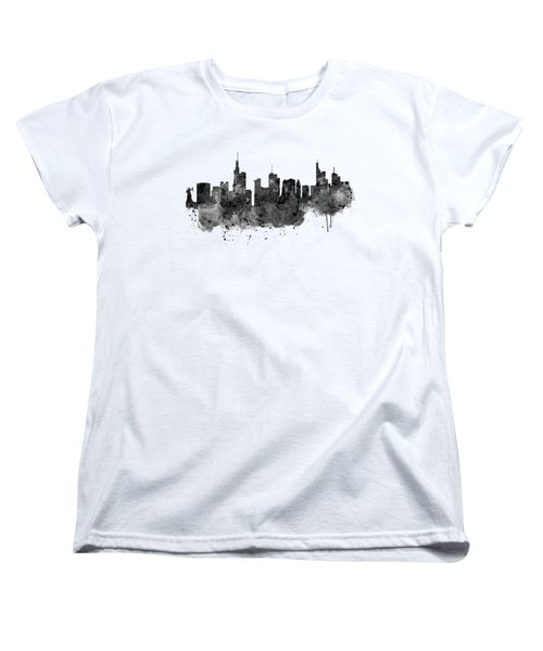 Frankfurt Black And White Skyline Women's T-Shirt (Standard Cut) by Marian Voicu