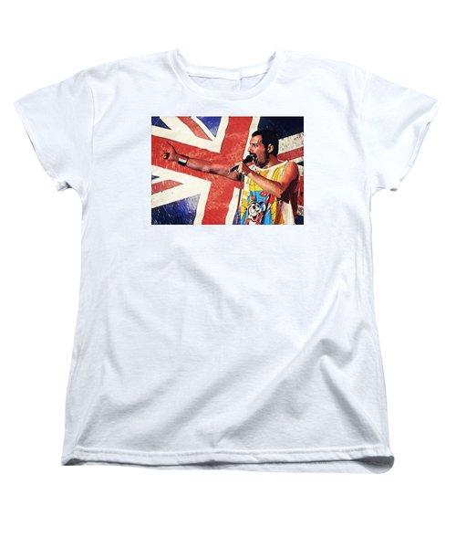 Freddie Mercury Women's T-Shirt (Standard Cut) by Taylan Apukovska