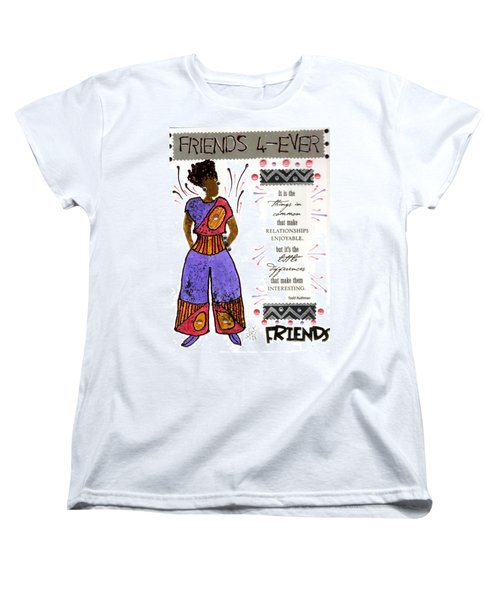 Women's T-Shirt (Standard Cut) featuring the mixed media Friends 4ever by Angela L Walker