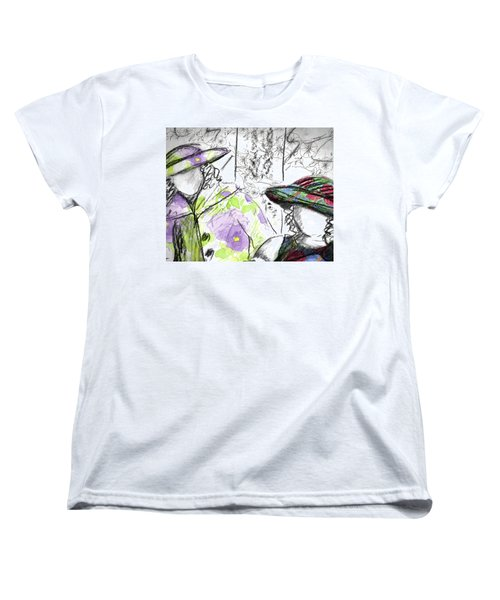 Women's T-Shirt (Standard Cut) featuring the painting Friends And Flowers by Cathie Richardson