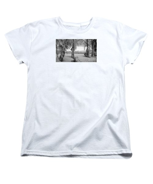 Women's T-Shirt (Standard Cut) featuring the photograph Frozen Landscape Of The Menominee North Pier Lighthouse by Mark J Seefeldt