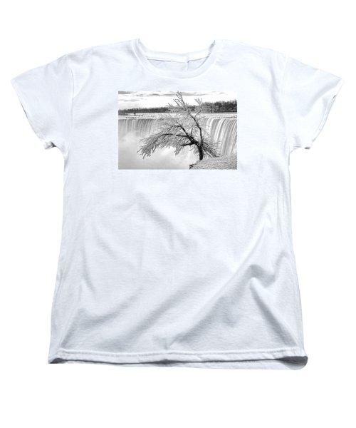 Frozen Tree Near Niagara Falls Women's T-Shirt (Standard Cut) by Alex Galkin