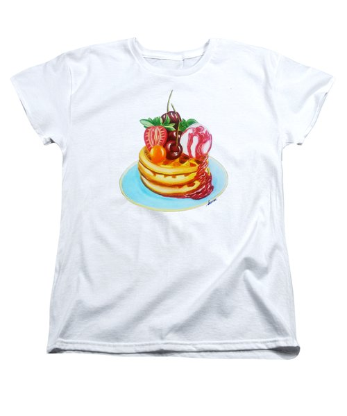 Fruity Waffles Served With Ice Cream And Strawberry Sauce Women's T-Shirt (Standard Cut) by Sonja Taljaard