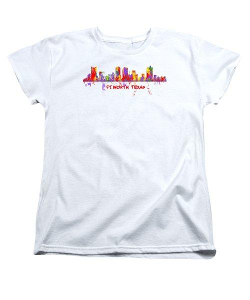 Ft Worth Tx Skyline Tshirts And Accessories Art Women's T-Shirt (Standard Cut) by Loretta Luglio