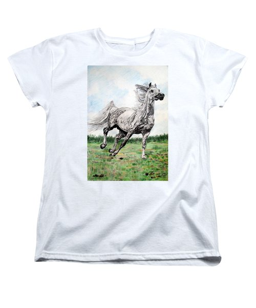 Galloping Arab Horse Women's T-Shirt (Standard Cut) by Melita Safran