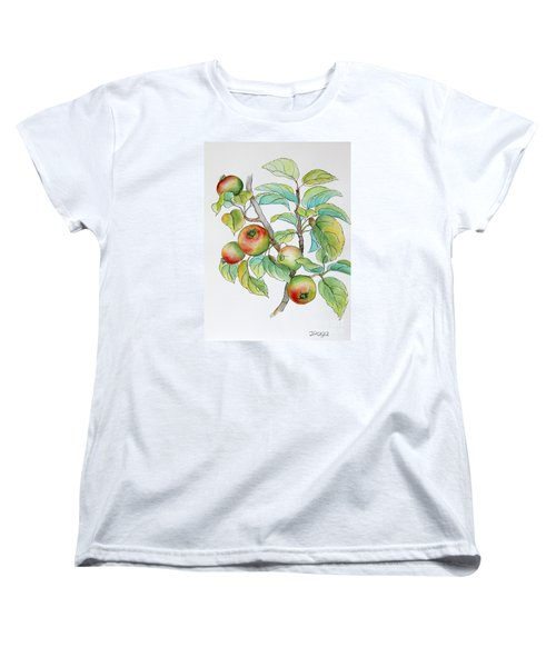 Women's T-Shirt (Standard Cut) featuring the painting Garden Apples Sketch by Inese Poga