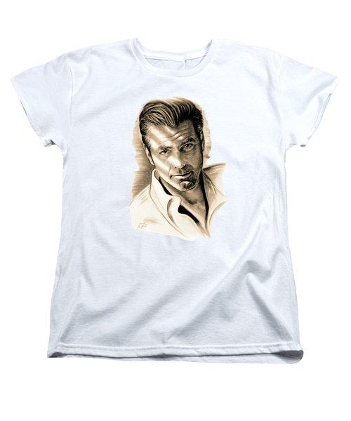 George Clooney Women's T-Shirt (Standard Cut) by Gitta Glaeser