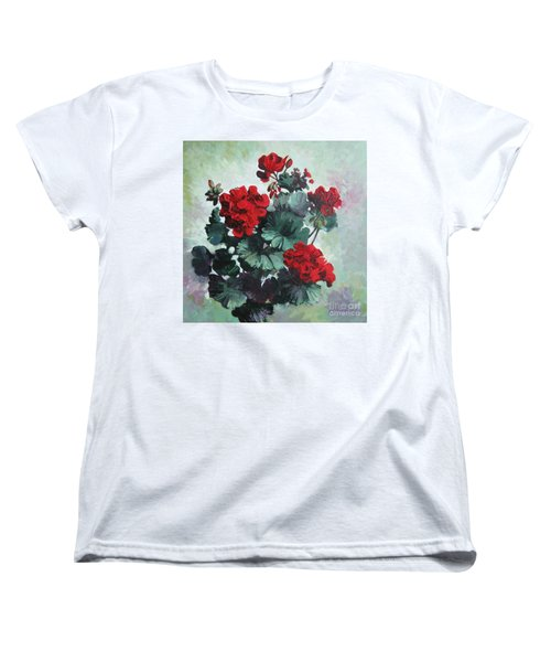 Women's T-Shirt (Standard Cut) featuring the painting Geranium by Elena Oleniuc