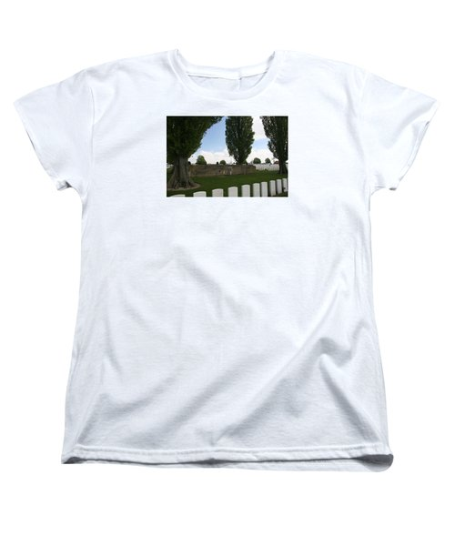 Women's T-Shirt (Standard Cut) featuring the photograph German Bunker At Tyne Cot Cemetery by Travel Pics