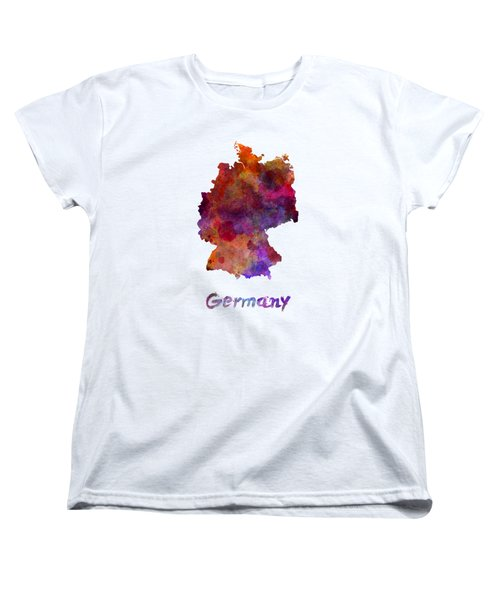 Germany In Watercolor Women's T-Shirt (Standard Cut) by Pablo Romero