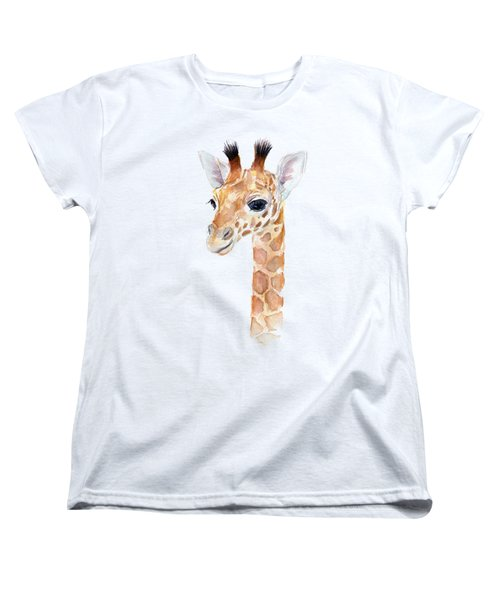 Giraffe Watercolor Women's T-Shirt (Standard Cut) by Olga Shvartsur