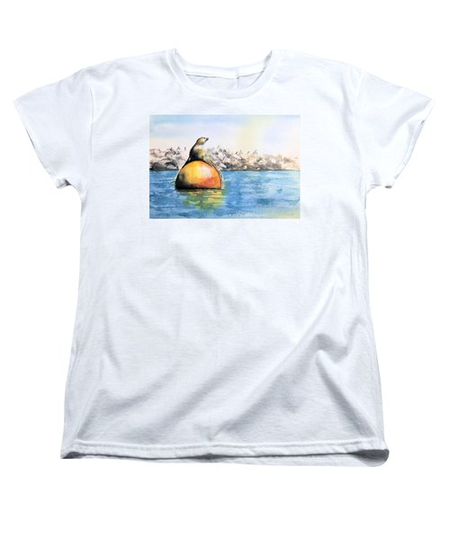 Girl And Buoy Women's T-Shirt (Standard Cut) by Debbie Lewis
