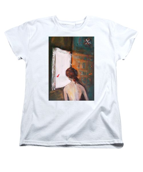 Women's T-Shirt (Standard Cut) featuring the painting Girl At The Window by Winsome Gunning