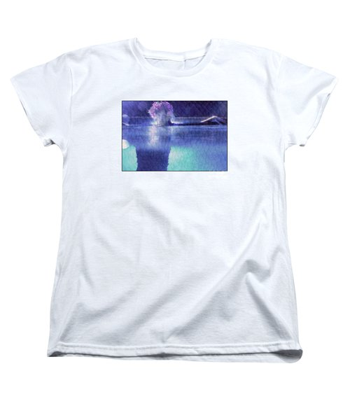 Girl In Pool At Night Women's T-Shirt (Standard Cut) by Michael Edwards