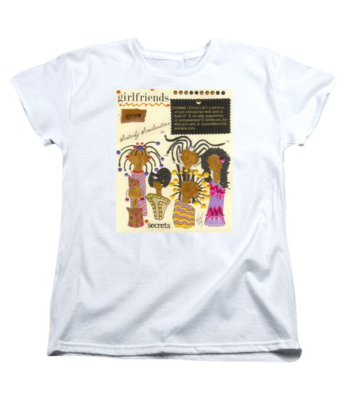 Women's T-Shirt (Standard Cut) featuring the mixed media Girlfriends  by Angela L Walker